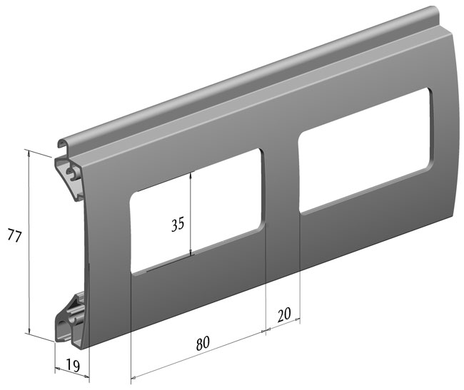 Новый смотровой профиль EV/77W для роллетных ворот